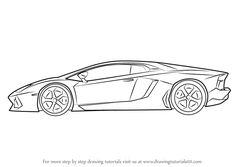how to draw lamborghini centenario side view drawingtutorials101com - Lamborghini Black And White Drawing