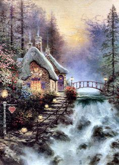 Sweetheart Cottage II by Thomas Kinkade. My grandmother we did this painting and I have the honor of having it