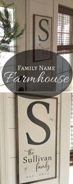 Family name & initial in a Farmhouse frame #decor #walls #farmhouse #framed #initial #custom #etsy #ad