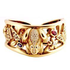 KIESELSTEIN-CORD Green Gold and Diamond Midsummer Night's Dream.Tthe bracelet features 18K green gold, diamond, tourmaline, tanzanite, and citrine. Contemporary