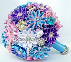 Fabric Wedding Bouquet Brooch bouquet Blue Lilac Pink by LIKKO Ribbon Bouquet, Diy Bouquet, Brooch Bouquets, Wedding Ceremony Flowers, Wedding Colors, Wedding Bouquets, Wedding Ideas, Wedding Dresses, Kanzashi