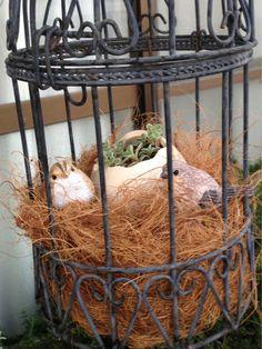 ハンドメイド:ヤシガラマットで鳥の巣