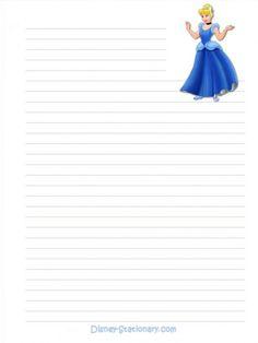 """Princesses"": ""Cinderella"", as courtesy of Walt Disney Printable Lined Paper, Free Printable Stationery, Printable Recipe Cards, Cinderella Blue Dress, Disney Writing, Hero Crafts, Disney Printables, Disney Scrapbook Pages, Walt Disney World Vacations"