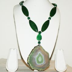 Dazzling Volcanic Pattern Green Agate Pendant with matching gemstones in a rare necklace of unmatched standout sophistication.
