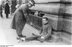 Decorated (Iron Cross) War Veteran Begging on the Street (1923)  Wounded veterans of the Great War – a common sight on the streets of Weimar Germany – were among those hardest hit by the great inflation. Even the money they received from begging became quickly worthless.