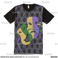 Mardi Gras beads and Comic Tragic Masks All-Over-Print T-Shirt - Visually Stunning Graphic T-Shirts By Talented Fashion Designers - #shirts #tshirts #print #mensfashion #apparel #shopping #bargain #sale #outfit #stylish #cool #graphicdesign #trendy #fashion #design #fashiondesign #designer #fashiondesigner #style