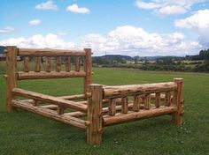 Queen sized Log Bed with finish Cedar Furniture, Rustic Bedroom Furniture, Rustic Bedding, Handmade Furniture, Home Decor Furniture, Pallet Furniture, Furniture Projects, Rustic Bedrooms, Western Furniture