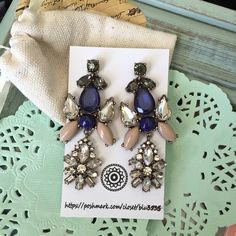 ‼️B2G1 Free‼️Crystal Blue Chandelier Earrings Antique gold-plated --  sapphire blue centerpiece, beige resins -- clear grey and blue crystals -- NWOT-- comes with dust bag Jewelry Earrings