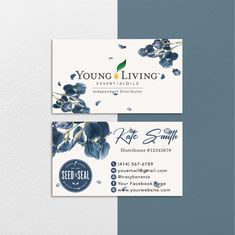 Floral Personalized Young Living Cards, Floral Essential Oil Card YL63– ToboArt