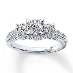 990839300 - 3-Stone Diamond Ring 1 ct tw Round-cut 14…