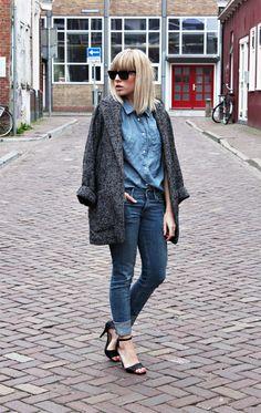 denim on denim and gray coat