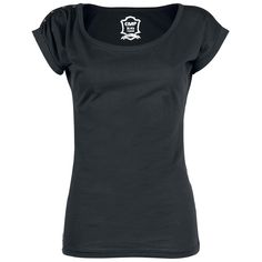 "You can't have enough black shirts in your closet! The girls T-Shirt ""Button Sleeve"" by Black Premium by EMP has a fancy button tape on the right shoulder."