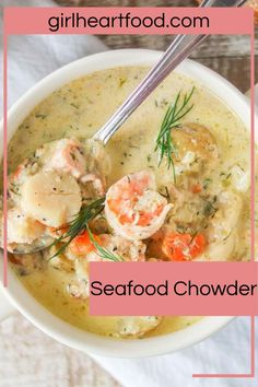 This creamy seafood chowder is loaded with plenty of seafood, veggies and dill. Plus, it's comforting and totally delicious! If you're a fan of easy seafood recipes, this homemade chowder is a must try! #creamyseafoodchowder #bestseafoodchowderrecipe #seafoodchowder #fishchowderrecipe #howtomakefishchowder #easyseafoodchowder #howtomakeseafoodchowder #seafoodchowderwithbacon Best Seafood Chowder Recipe, Chowder Recipes, Seafood Dishes, Seafood Recipes, Light Soups, Fried Fish Recipes, Healthiest Seafood, Food Carving, Baked Fish