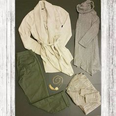 Inside a Tennessee subscriber's StyleBox #9! Olive green capris + @bananarepublic cream wrap sweater cardigan + gray @DKNY tunic top + heathered tan pocket sweater + gold tassel necklace =autumn perfection ! #tennessee #ootd #dkny #fashion #bananarepublic #flatlay #autumn #outfit #jeannepierre #firstimpression #shopping #selfconfidence #style  #katherinebarclay #ladiesstylebox