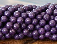Mountain Jade Beads, Eggplant Purple, 8mm Round - 15 Inch Strand