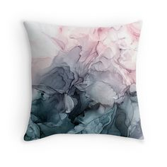 'Blush and Payne's Grey Flowing Abstract Painting' Throw Pillow by Elizabeth Karlson - Fingerfood Kalt Blush And Grey Living Room, Grey Bedroom With Pop Of Color, Navy Living Rooms, My Living Room, Blush Curtains, Blush Bedroom, Gray Bedroom, Master Bedroom, Navy Bedrooms