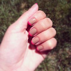 Neutral & #neon French manicure   #nails
