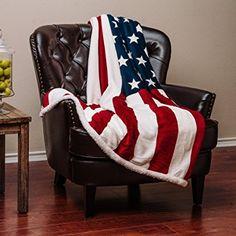 Chanasya Super Soft Ultra Plush Cozy Warm Patriotic US Flag Print Sherpa Gift Throw Blanket- US Flag Print Couch Bed Throw Blanket