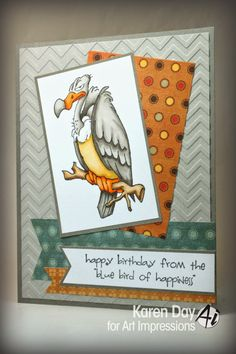 Art Impressions Rubber Stamps: Buzzard Set by Karen Day Masculine Birthday Cards, Masculine Cards, Art Impressions Stamps, Purple Cards, Birthday Card Design, Paper Cards, Men's Cards, Card Patterns, Animal Cards