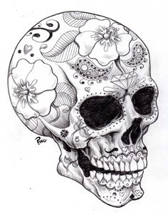 Sugarskull black and white #tattoo #sugarskull