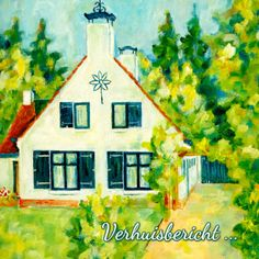 Geschilderd huisje  - Verhuiskaarten - Kaartje2go ©OTTI