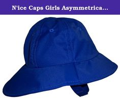 N'ice Caps Girls Asymmetrical Big Brim Sun Hat (5-9yrs, neon blue). Sun Caps by Nice caps Girls crushable light weight wash and wear fabric. hat has air holes around, velcro chin strap, light weight and confortable. Front of brim is shorter than back, back half of brim is longer for added sun protection. Colors: pink, fuchsia, black, neon blue, lt blue, navy, tye dye multi print, red, khaki. Available in 4 sizes: one size fits 6-18 months (label says 12-18 months,) one size fits 2T-4T…