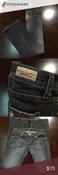 Miss Bisou Jeans Miss Bisou Jeans, slightly Distressed, with skull on back pockets. Super cute! Rise is approximately 7 inches, inseam is approximately 33 inches, leg opening what is approximately 10 inches. These jeans are used please look at all pictures and ask questions. Offers are welcome ❤️ Miss Bisou Jeans