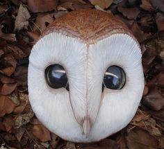 Owl Mask by Miss Monster Villain Mask, Bird Barn, Barn Owls, Owl Mask, Mask Painting, Owl Tattoo Design, Power Animal, Faux Taxidermy, Effigy