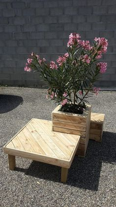 First of all let me isolate and discuss all the features of this combined wooden pallet creation. Well, there is a wide wood pallet made table, then there is a broad, wide and tall planter made with same timber, and on the extreme other end there is a tiny stool as well Pallet Patio, Pallet Wood, Diy Pallet, Wooden Pallets, Pallet Ideas, Pallet Crafts, Wood Pallet Recycling, Woodworking Projects, Wood Projects
