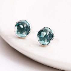 Material - high quality of sterling silver 925 with stamp. Hypoallergic, lead and nickel free. Color - sterling silver and blue. Natural Crystals, Blue Crystals, Crystals And Gemstones, Christmas Deals, Christmas Gifts, Studs, Stud Earrings, Jewellery, 3d