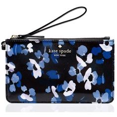 Kate Spade Cedar Street Floral Slim Bee (120 BAM) ❤ liked on Polyvore featuring bags, handbags, clutches, floral print purse, wristlet purse, kate spade handbag, wristlet handbags and floral clutches