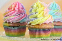 Magic Pastel Rainbow Unicorn Cupcakes from Scratch = jenny at dapperhouse