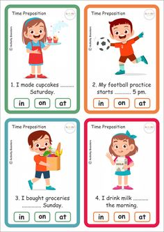 Time Preposition 40 Task Cards and answer sheet. Download free pdf from our facebook page. English Activities For Kids, English Grammar For Kids, Learning English For Kids, Teaching English Grammar, English Worksheets For Kids, English Lessons For Kids, Kids English, English Language Learning, Kids Learning Activities
