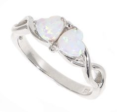 Sterling Silver Entwined Hearts Opal Ring Gift Boxed, anniversary gift for her Anniversary Gift For Her, Anniversary Rings, Opal Rings, Fine Jewelry, Jewellery, Heart Ring, Gifts For Her, Rings For Men, Hearts