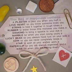 Little Bag Of Happiness- a great DIY gift Gag Gifts, Cute Gifts, Funny Gifts, Silly Gifts, Little Bag, Little Gifts, Christmas Crafts, Christmas Presents, Christmas Games
