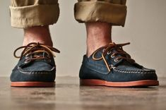 Designed in Chicago, handmade in Maine // Oak Street Bootmakers - Navy Suede Red Brick Sole Trail Oxford Boat Shoes, Men's Shoes, Oak Street, Shoe Sites, Suede Oxfords, Look Cool, Swagg, Me Too Shoes, Oxford Shoes