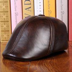 294067fe127 Men Cowhide Genuine Leather Beret Hat Earflap Earmuffs Ear Protective Warmer  Cabbie Cap