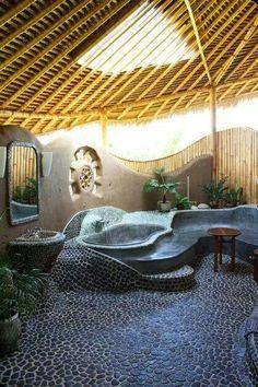 Baño con formas organicas