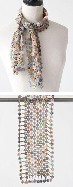Sophie Digard crochet scarf by Lisbeth Johansen Crochet Poncho, Knitted Shawls, Crochet Scarves, Irish Crochet, Crochet Motif, Crochet Designs, Crochet Yarn, Crochet Clothes, Crochet Patterns