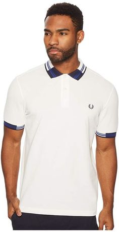 Fred Perry Block Tipped Pique Polo Shirt Men's Clothing Snow White Mens Golf Fashion, Camisa Lisa, Fred Perry Polo, Mens Polo T Shirts, Twin Tips, Smart Men, Polo Shirt White, Camisa Polo, Moda Masculina