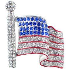 Crystal American Flag Pin Brooch