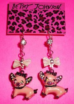 Betsey Johnson Earrings Very Wild Miss Piggy Dangle Free Shipping $14.95