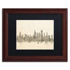 Trademark Art Chicago Skyline Sheet Music By Michael Tompsett Framed Graphic Size