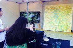 Guests shot paint balls to decorate an interactive art piece. #eventprofs #activity #engagement