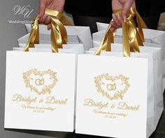 25 Wedding welcome bags for guests with satin ribbon handles