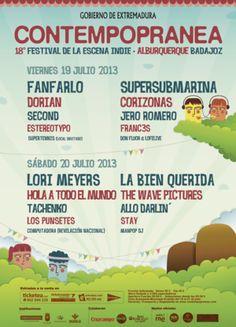 Entradas para 18º Festival Contempopranea 2013 en Alburquerque en Recinto del Festival Contempopranea, Alburquerque el 19 de julio 2013 en notikumi
