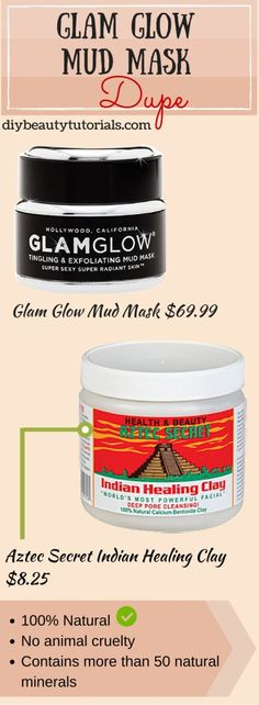 Natural Dupe of Glam Glow Mud Masks! It's safer on skin and much cheaper! Glam Glow is my fav facial mask and this one can be found at the vitamin shoppe . Beauty Dupes, Beauty Skin, Health And Beauty, Beauty Hacks, Hair Beauty, Skincare Dupes, Tips And Tricks, Makeup Tricks, Makeup Guide