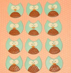 Owls Fondant Cupcake Or Cookie Toppers Edible 1 by iamladycupcake, $13.95