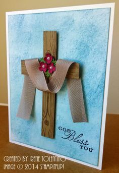 Make a Card: Hardwood Cross - Confirmation Cards Confirmation Cards, Baptism Cards, Paper Cards, Diy Cards, Christian Cards, Diy Ostern, Sympathy Cards, Creative Cards, Greeting Cards Handmade