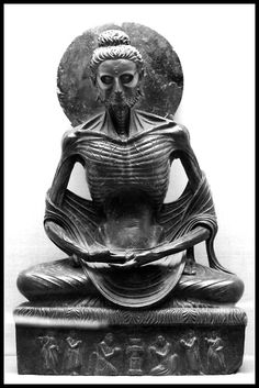 Fasting Buddha that resides at the Lahore Museum, an example of Gandhara art.